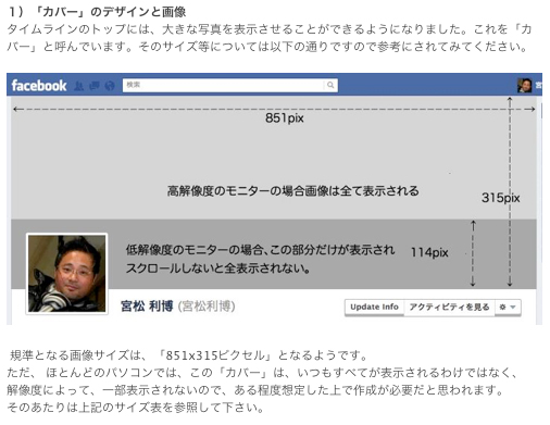 FaceBookカバーページのサイズ